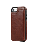Brown Flip Case Leather Card Slot Holster Stand Man Wallet